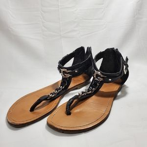 G By Guess Metal Link Sandals Zip Back Size 6.5M